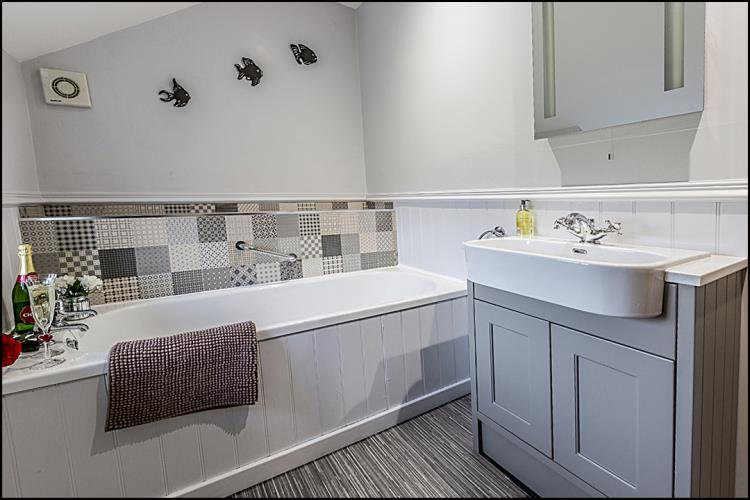 Modern Family Bathroom at Hendre Farmhouse