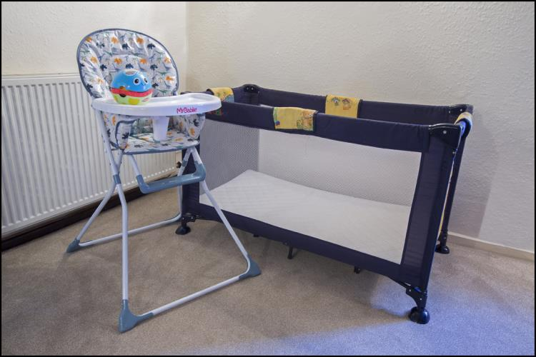 Modern Travelling Cot with quality mattress and High-chairs available