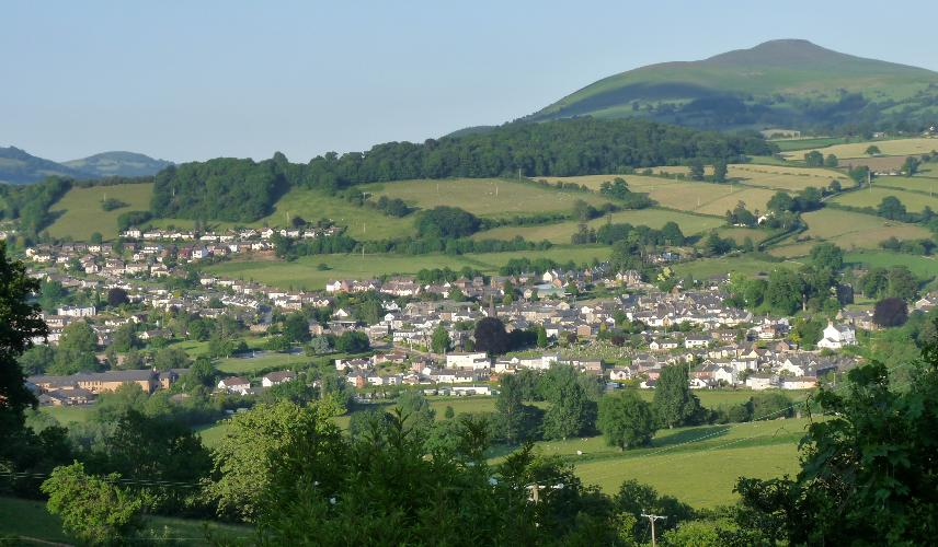 View of Crickhowell and Sugar Loaf mountain from the barn