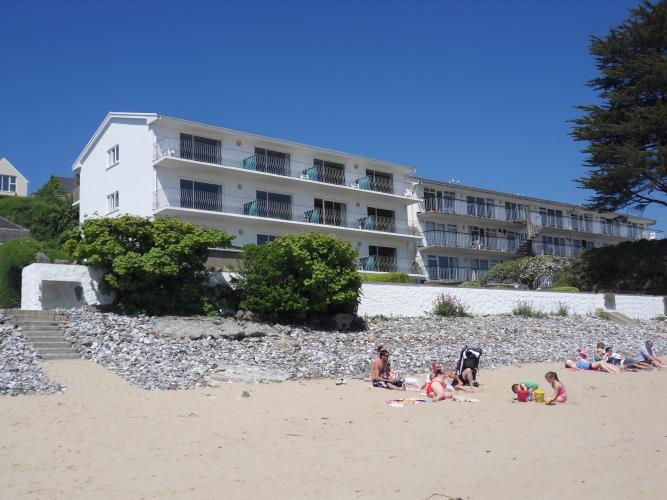 view of apartments from blue flag beach