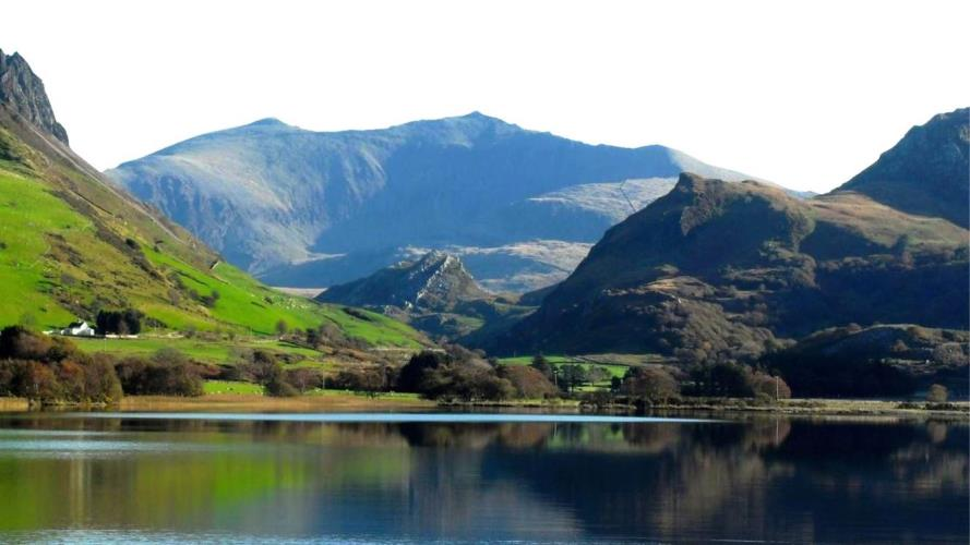 Llyn Nantlle looking towards Snowdon. 5 min drive from Ashcoast House