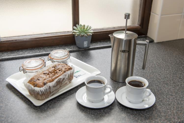 Filtered coffee and cake awaits your arrival